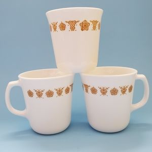 Set of 3 Corning Corelle Butterfly Gold Cups